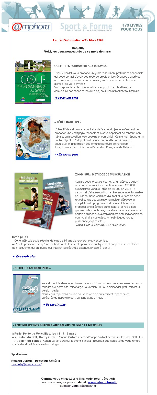 Newsletter des éditions Amphora – Mars 2009